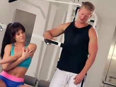 Sporty gal sucks cock in blue BJ porn
