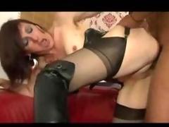 French brunette wears lie doggo and loves dark cock