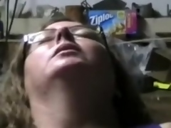 Slutty four-eyed large bewitching woman bitch has a rejected fur pie which needs a big contraption